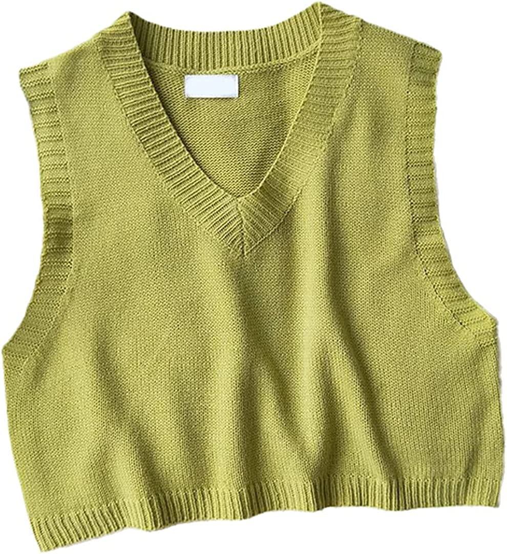 WaistQun Women V-Neck Knitted Vest Spring Autumn Sweater Vests Short Female Casual Sleeveless Knit Pullovers