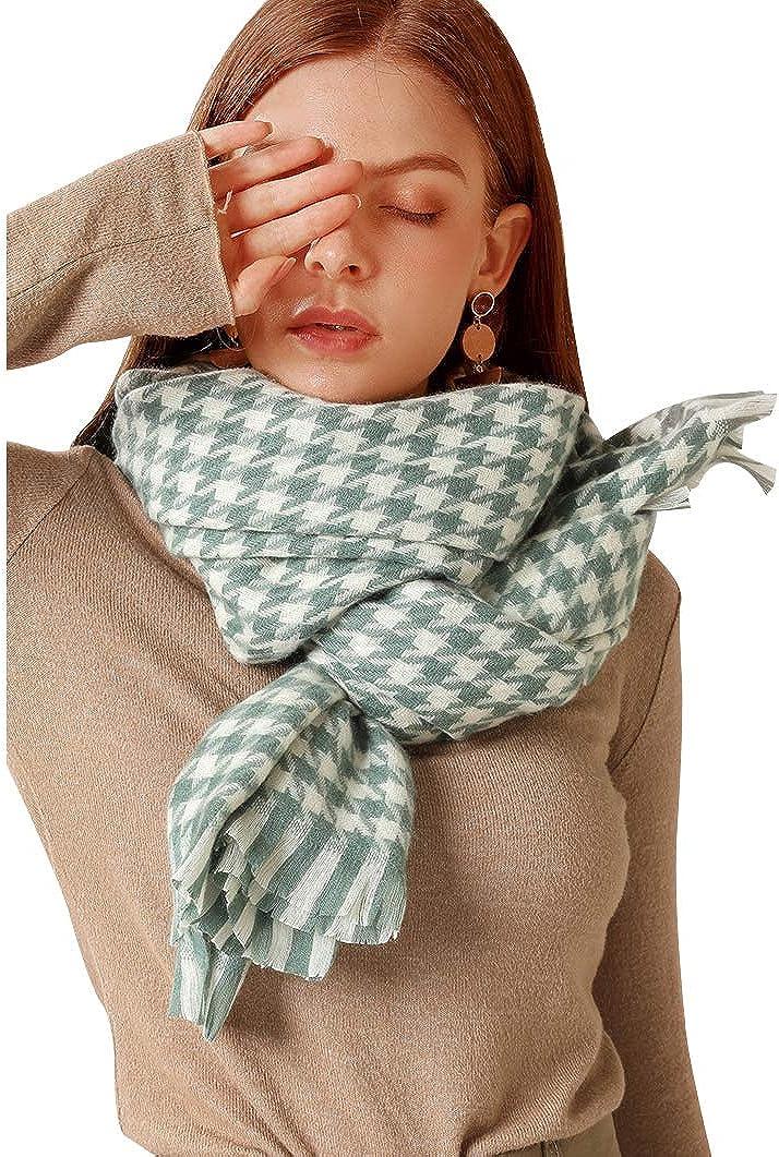 Bagheat Scarfs for Women Cashmere Elegant Super Soft Winter Warm Houndstooth Plaid Scarves