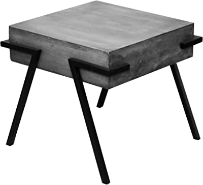 The Urban Port Square Mango Wood Side Accent Table with Angled Metal Legs, Light Gray and Black