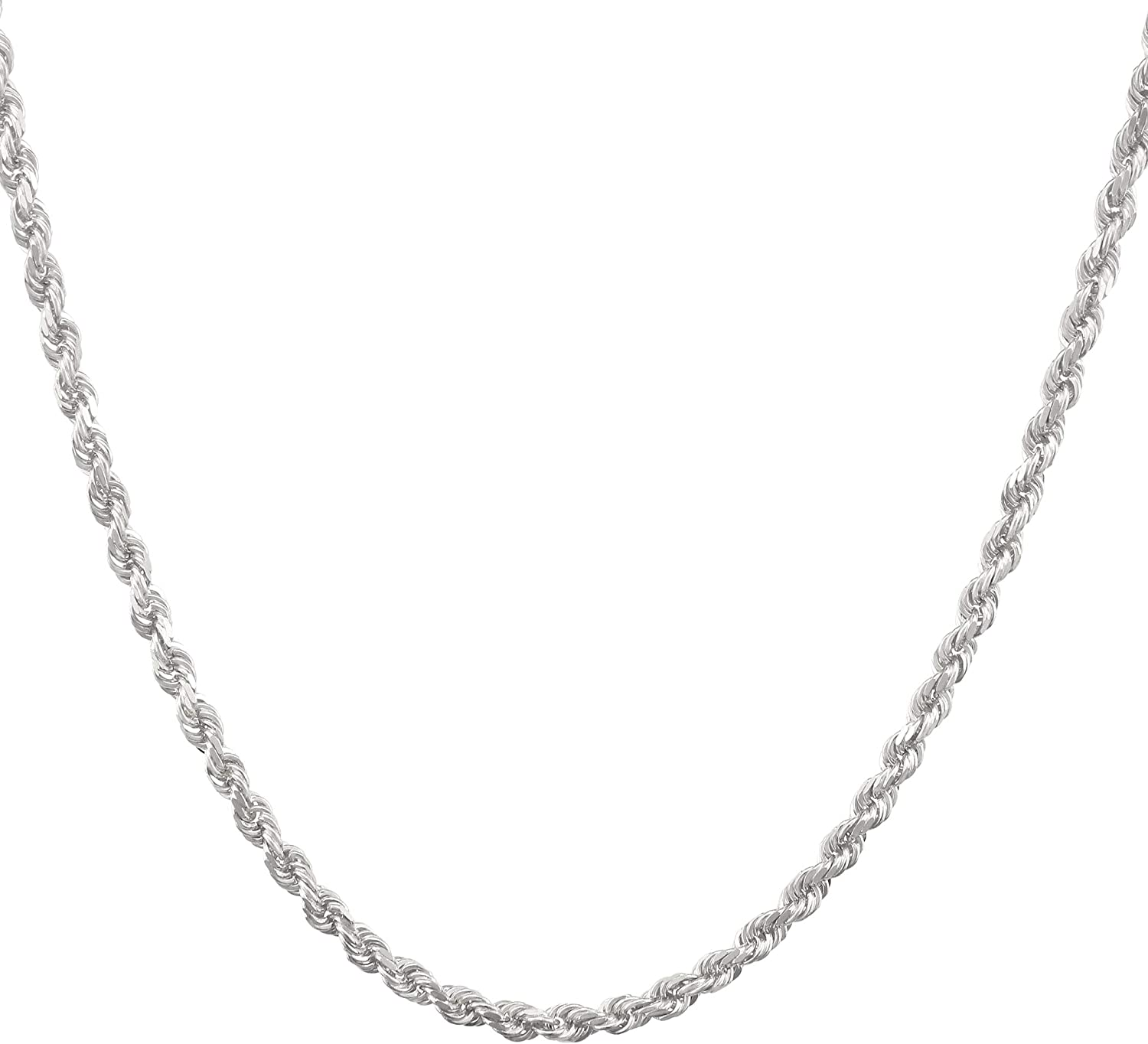 Nuragold 10k White Gold 3mm Solid Rope Chain Diamond Cut Pendant Necklace, Mens Jewelry Lobster Lock 18