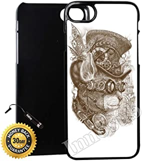 Custom iPhone 7 PLUS Case (Steampunk Cat) Edge-to-Edge Plastic Black Cover with Shock and Scratch Protection | Lightweight, Ultra-Slim | Includes Stylus Pen by Innosub