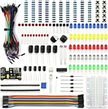 HJ Garden Electronic Component Assorted Kit for Arduino, Raspberry Pi STM32 etc. 400 Breadboard + Jumper + Power Module + Resistor + Capacitor + LED + Switch + Buzzer + Transistor (298pcs)