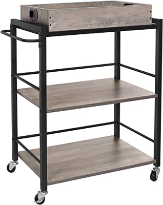 VASAGLE Bar Cart, Kitchen Serving Cart, 3-Tier Kitchen Utility Cart on Wheels with Storage, Universal Casters with Brakes, Leveling Feet, Greige and Black ULRC072B02