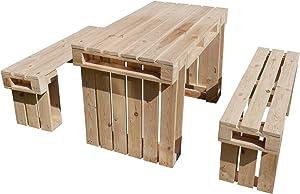 relaxedLiving | Sitzgarnitur aus Paletten - 1 Tisch und 2 Bänke | Naturholz | Gartenmöbel | Palettenmöbel | unbehandeltes Holz | geeignet für Messen, Gastronomie etc. | Großbestellungen möglich