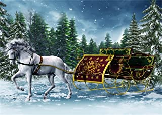 Leowefowa 7X5FT Vinyl Fairytale Backdrop Christmas Tree Forest White Horse Carriage Falling Snowflakes Winter Snow Scene Xmas Photography Background Baby Kids Lover Photo Studio Props