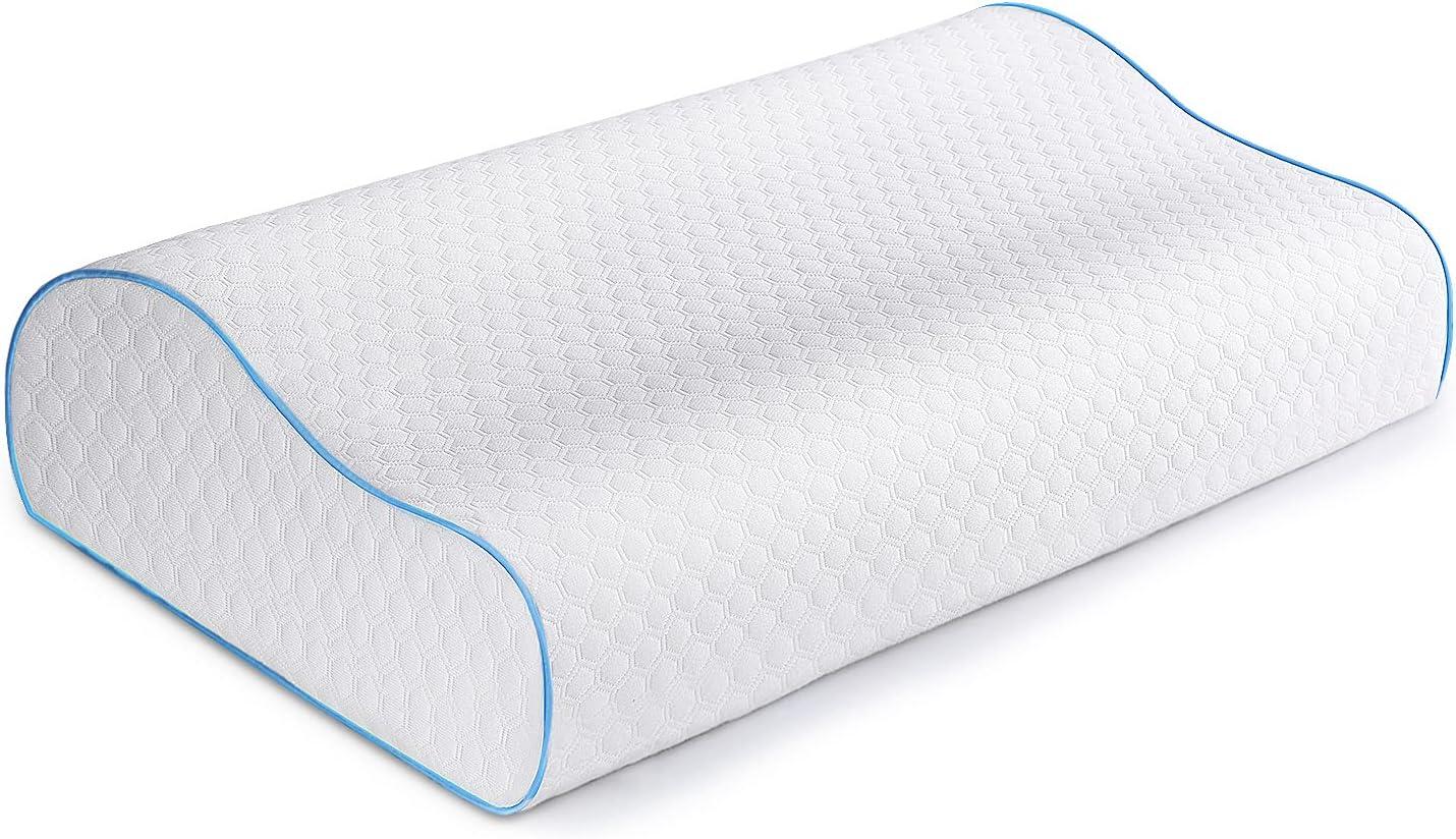 Almohadas de Soporte para el Cuello Espuma viscoelástica, Oxford Street Almohada ergonómica ortopédica Cervical para el Contorno de la Persona Que Duerme de Lado Funda Lavable
