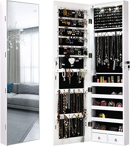 wholesale Giantex Wall outlet online sale Door Jewelry Armoire Cabinet with Full-Length Mirror, 2 LEDs Lockable Large Storage Jewelry Organizer with Wide Mirror, Makeup Pouch, Bracelet Rod, wholesale Jewelry Amoires w/ 2 Drawers (White) sale