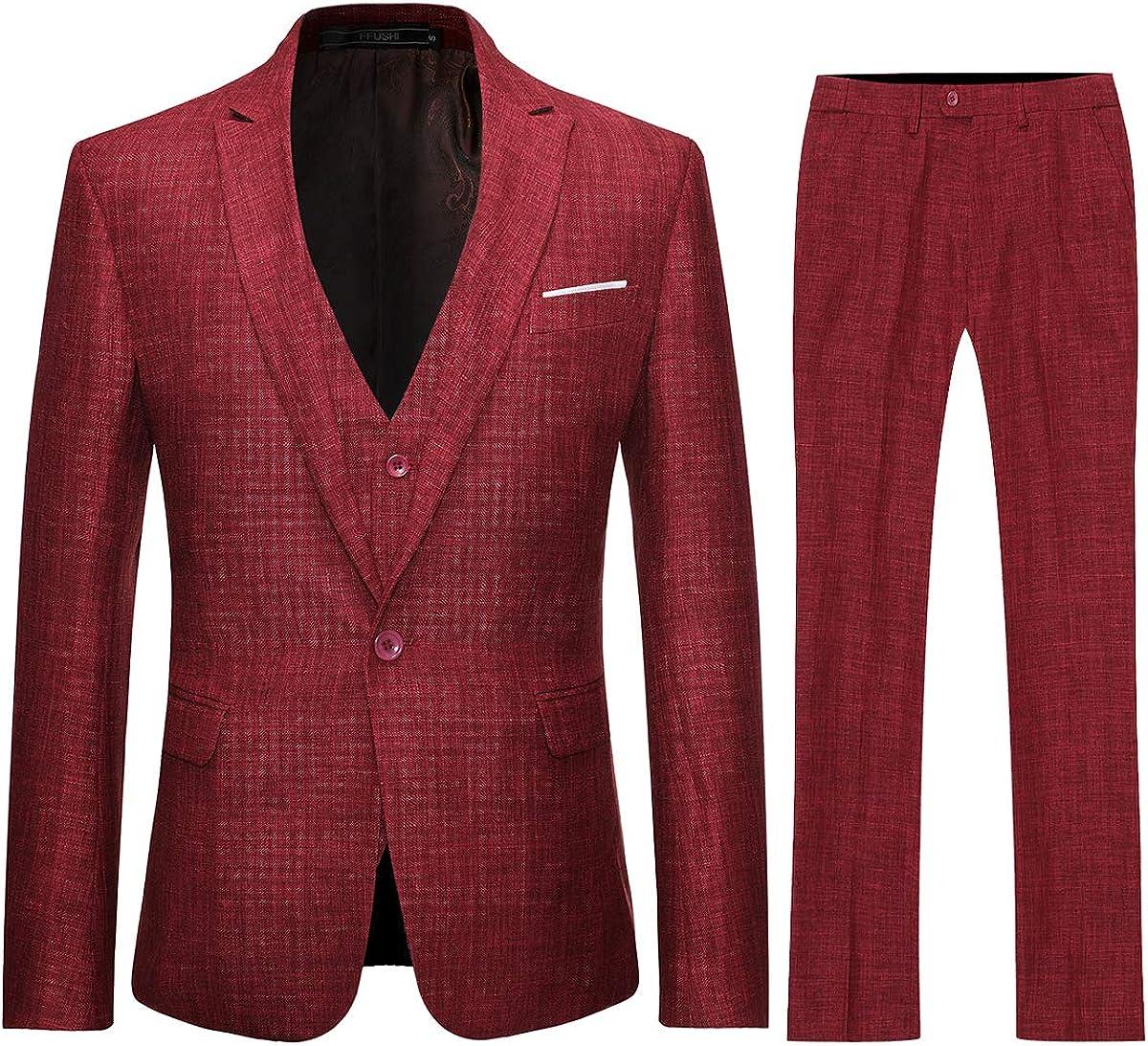 Mens Linen Suit 3 Piece Formal Suit Set Classic Fit Blazer Wedding Jacket Outfit