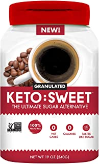 KETO:SWEET Ultimate Keto Sugar Alternative, 100% Natural Erythritol - Granulated In Pourable, Resealable Ja...