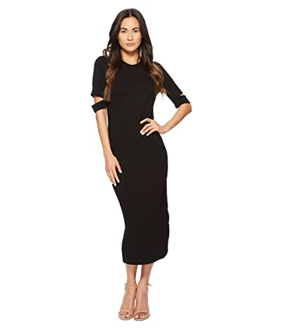 American Rose Quinn Luxe French Terry Midi Dress (Black) Women