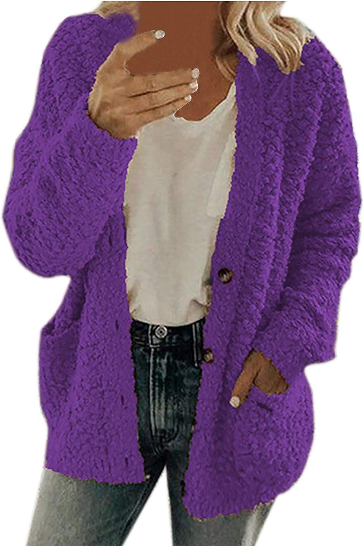 Womens Plus Size Button Down Hood Cardigans Fleece 1 Japan Maker New year warranty Fuzzy Sweater