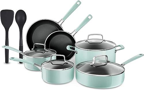 new arrival KitchenAid 12 Piece Heavy-Gauge 4.0 Stainless sale Steel online sale Base Induction Dishwasher Safe Aluminum Nonstick Cookware Set Ice Blue online sale