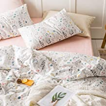 VKStar Twin Floral Duvet Cover Sets Kids Blossom Bedding Sets Reversible Botanical Pattern Teenagers Girls Duvet Cover with 2 Pillowcases Vintage Garden Plant Quilt Cover Sets for Women