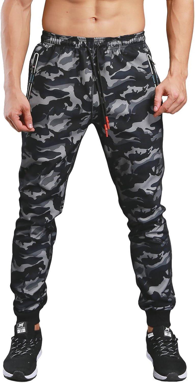 KaiDi Men's Drawstring Classic Camo Joggers Pants Zipper Pockets