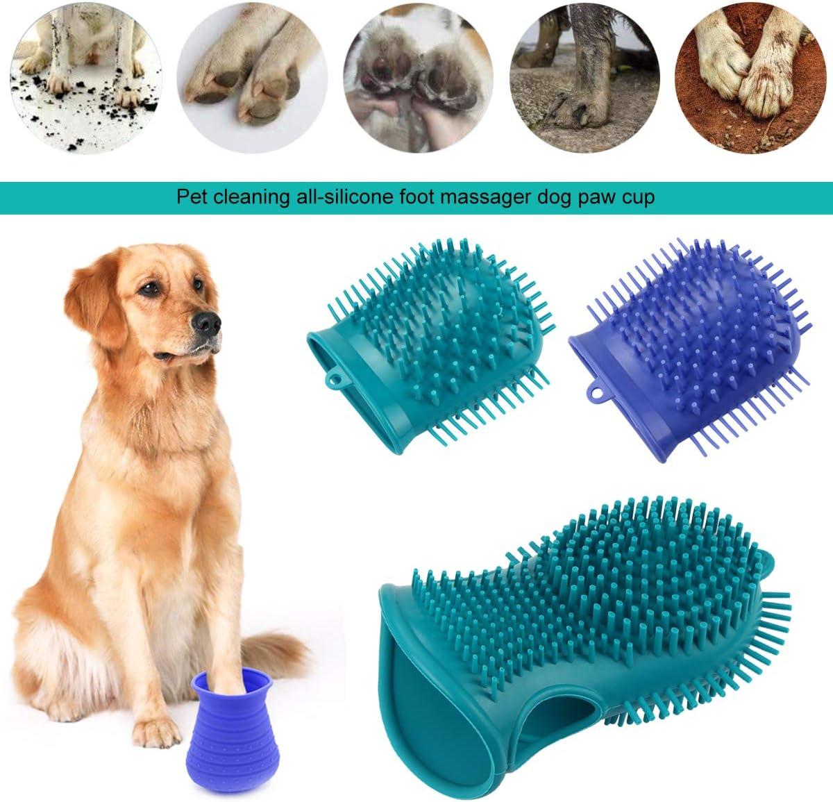 PFativant 2 en 1 limpieza de masaje para perros y patas limpiador de silicona para pies de mascotas con una toalla adecuado para perros peque/ños y medianos.