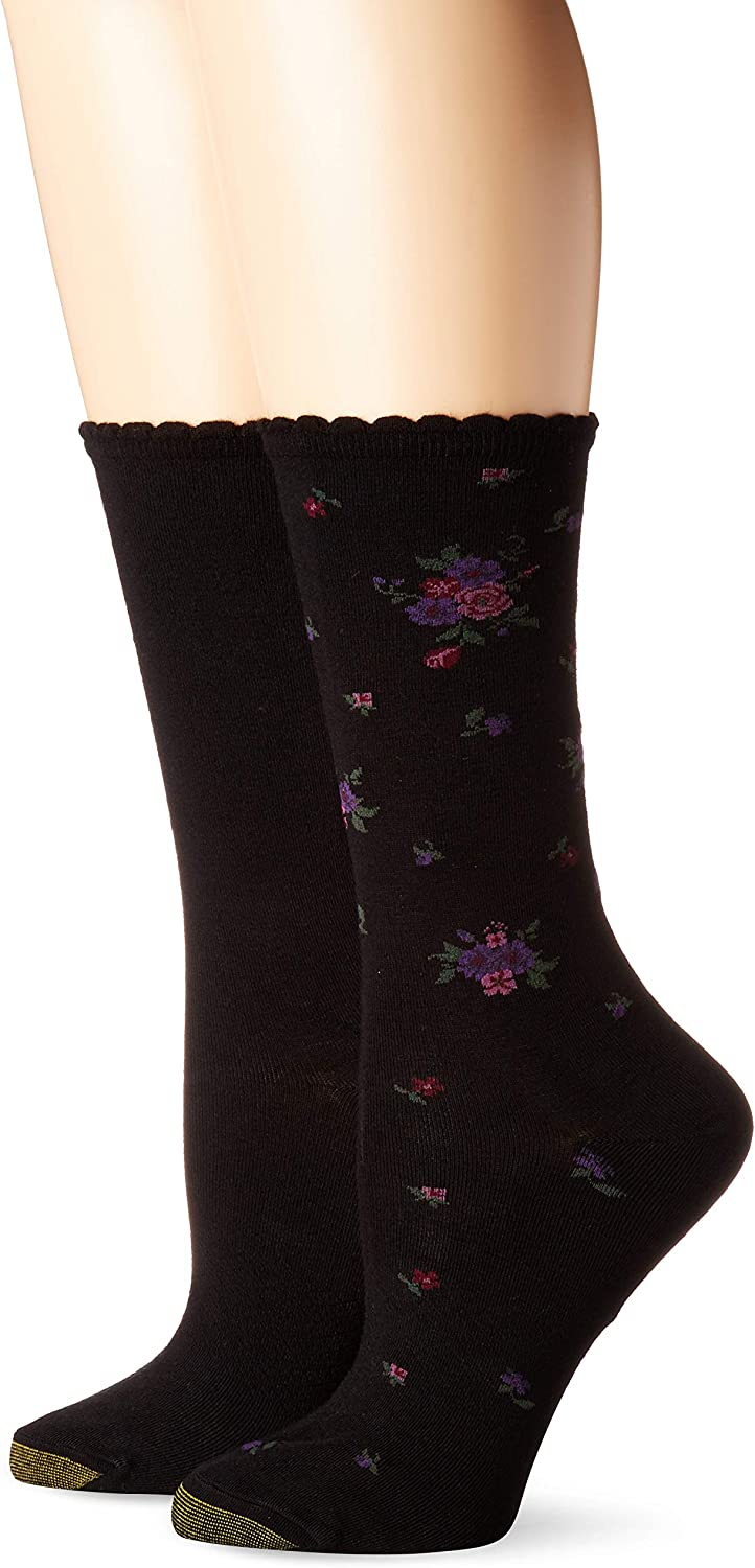 gold Toe Women's Little Black Bouquet Flat Knit Crew Socks, 2 Pairs, shoes Size  6-9