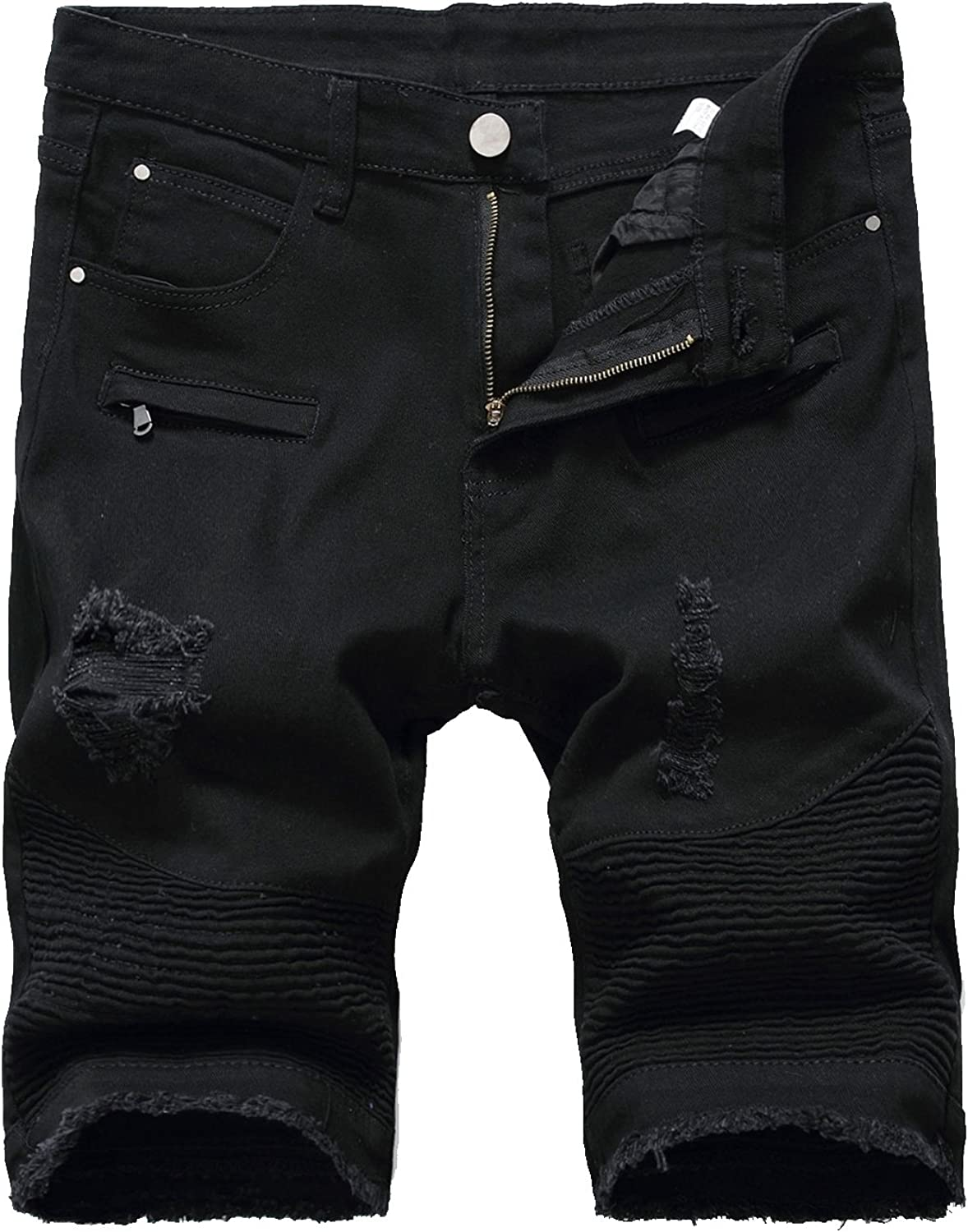 HULANG Mens Casual Ripped Distressed Jeans Denim Shorts with Broken Hole