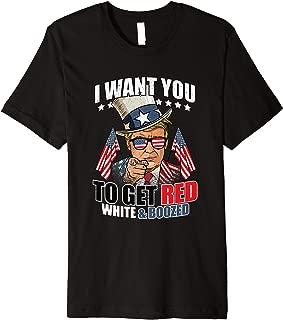 Red White Booze Funny Donald Trump Shirt 4th of July Merica Premium T-Shirt