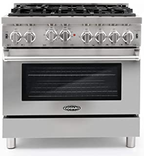 Cosmo GRP366 36 in Freestanding Gas Range   6 Sealed Burner Rangetop, Single Convection Oven with Light, Cast Iron Grate Cooktop Wok Attachment, Metal Stove Heat Control Knobs, Stainless Steel