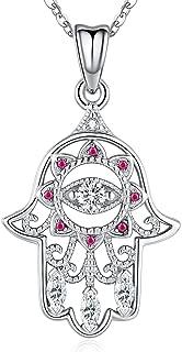 Aniu Hamsa Necklace, Hand of Fatima Pendant for Women, Charm Sterling Silver Jewelry