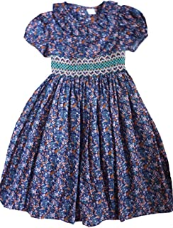 Edgehill Collection Young Gir'ls Smocked Dress Cotton Navy with Pastel Floral, 6X