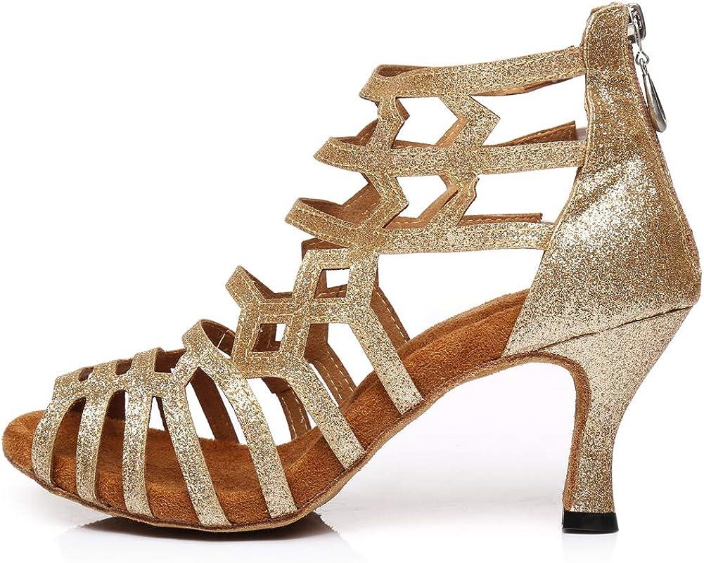 DKZSYIM Women's Latin Dance Shoes Ballroom Practice Suede Sole Wedding Performance Dance Shoe,Model YCL395