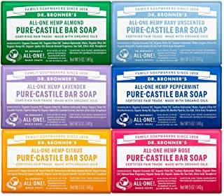 Dr. Bronner's - Pure-Castile Bar Soap (5 Ounce Variety Gift Pack) Almond, Unscented, Lavender, Peppermint, Citrus, Rose - ...