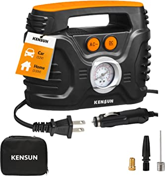 Kensun AC/DC Power Supply Portable Air Compressor Pump with Analog Display to 100 PSI for Home (110V) and Car (12V),Tire Inflator with Adaptors for Cars, Trucks, Bicycles, Balls: image
