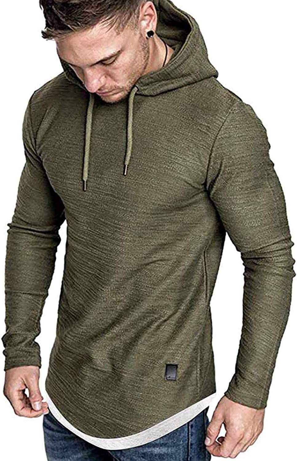 Men's Casual Hooded Sweatshirt - Solid Color Pullover Top Blouse Mens Fashion T-Shirts