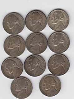 1942 Thru 1945 P-D-S Jefferson Wartime Silver Nickels Complete Set (11) Coins Total Good--Very Good