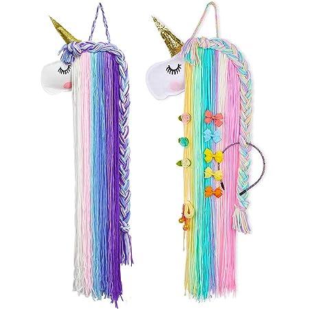 Qixuer 2 Piezas Unicornio Pinza Pelo Organizador Cabello Organizador Diadema Colgante Almacenamiento para Decoración el Hogar para Niñas Bebé Habitación Accesorios y Fiestas Temáticas(2colores