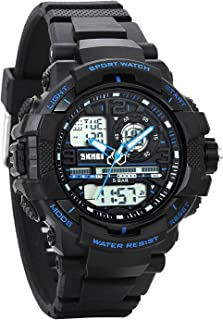 Avaner Outdoor Sports Electronic Kids Watch Blue Analog Dual Time Water Resistant Quartz Watch w/Chronograph, Alarm, Backlight Calendar Date for Boys Girls Children