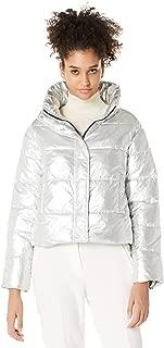 Royal Matrix Womens Short Warm Winter Metallic Silver Puffer Jacket