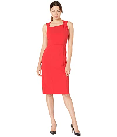 Donna Morgan Sleeveless Asymmetric Neck Sheath Crepe Dress (Scarlet Red) Women
