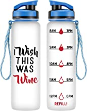 LEADO 32oz 1Liter Motivational Tracking Water Bottle with Time Marker - I Wish This was Wine - Funny Wine Lover Birthday Gifts for Women, Men, Mom, Dad, Husband, Wife, Daughter - Drink More Water