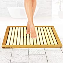 Bamboo Wood Bathroom Bath Mat - Heavy Duty Natural or Shower Floor Foot Platform Rug with Elevated Design for Water Evapor...