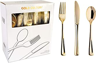 N9R 160 Gold Plastic Silverware - Gold Plastic Cutlery Set -80 Gold Forks, 40 Gold Spoons, 40 Gold Knives Disposable Gold ...
