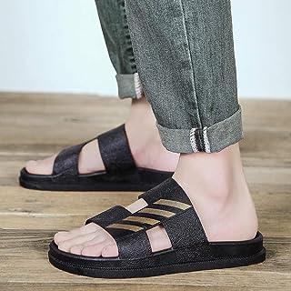 B/H Men'sRubberSandalSlipper,Indoor non-slip wear-resistant slippers, soft-soled massage sandals outside-black gold_UK...