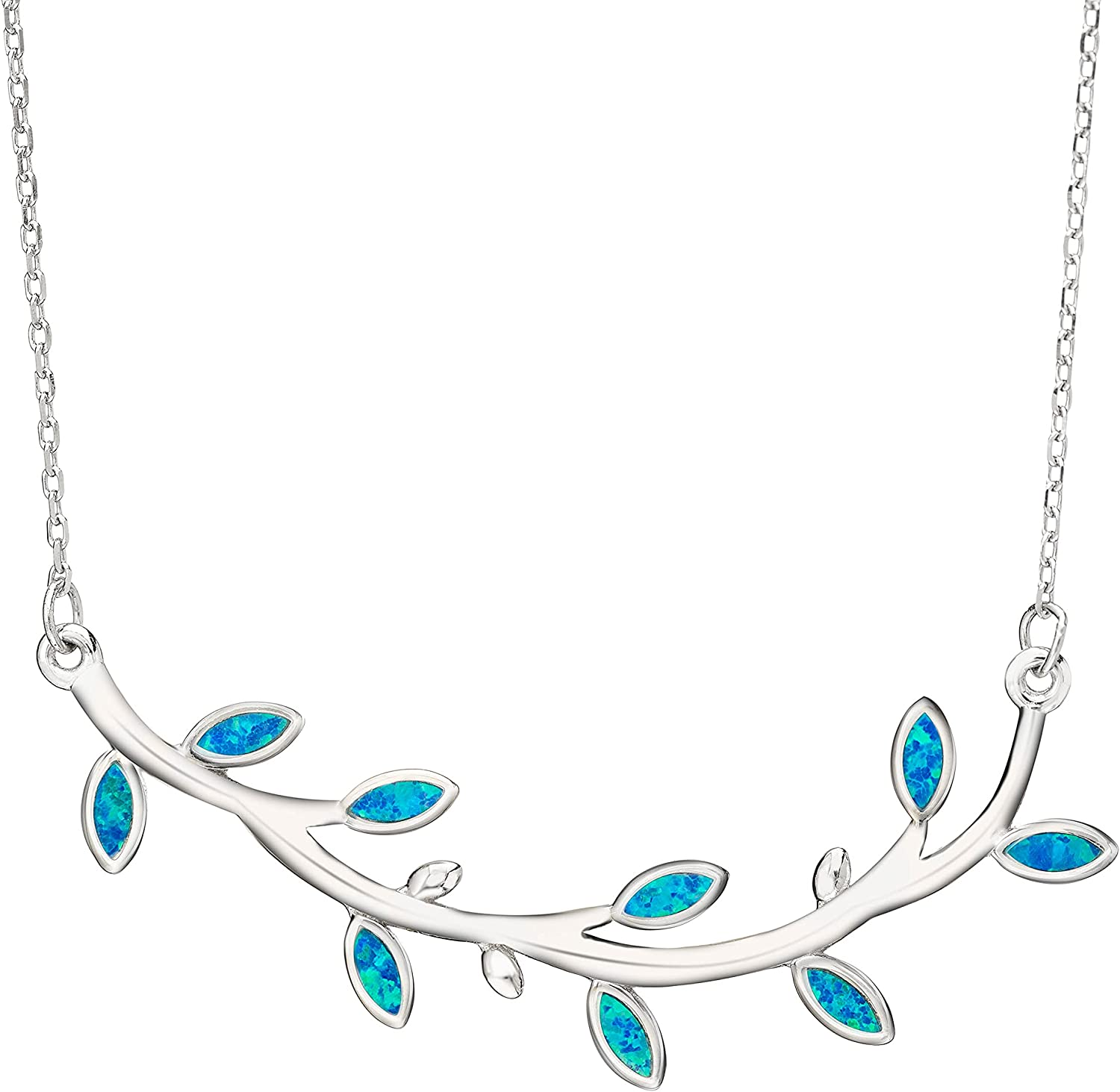 Sterling Silver quality assurance Created Blue Opal Olive Neckla Branch Maile Special price for a limited time Leaf