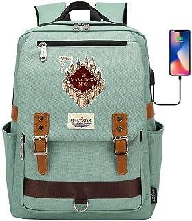 Mochila Elegante del Ordenador portátil, Harry Potter al Aire Libre Deportes Aventura Mochila de Viaje, Hogwarts Leisure Schoolbag Mapa del Merodeador Verde