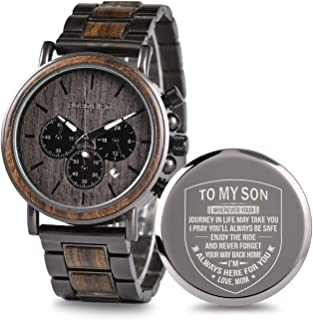 Engraved Wooden Watch for Boyfriend My Man Fiancé Husband Customized Personalized Wood Watches for Men Birthday Anniversary Gifts