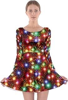 Womens Christmas Xmas Santa Vintage Snowman Music Cat Winter Long Sleeve Skater Dress