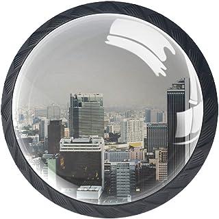 Lot de 4 boutons de tiroir en verre cristal pour commode, armoire, table de chevet, bibliothèque, bâtiments urbains