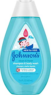 Johnson's Clean & Fresh Tear-Free Children's Shampoo & Body Wash, Paraben-, Sulfate- & Dye-Free Formula is Hypoallergenic ...
