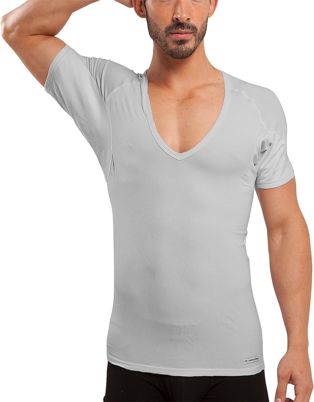 Ejis Camiseta Interior para Hombre Prueba de Sudor, Cuello en V Profundo, Plata Anti-Olor, Micromodal, Almohadillas de Sudor