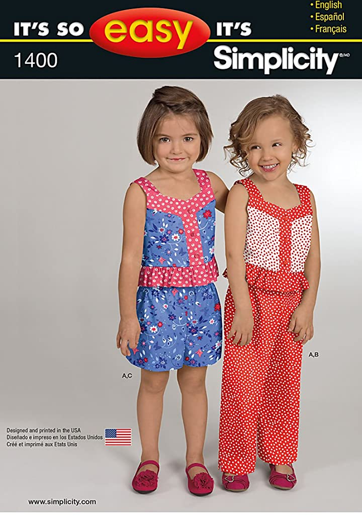 Simplicity It's So Easy Pattern 1400 Girls Top, Pants or Shorts Sizes 3-4-5-6-7-8