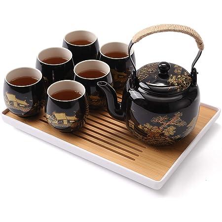 Service à thé japonais Dujust, service à thé en porcelaine noire avec 1 service à thé, 6 tasses à thé, 1 plateau, 1 infuseur, magnifique service à thé asiatique pour amateur de thé (campagne dorée)