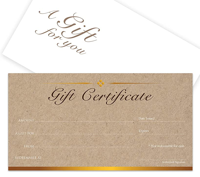 Blank Gift Certificates 25set - Kraft image - Comes with Free matching Envelopes - Small Business, Spa, Makeup,Hair Beauty Salon,Restaurant,Wedding Bridal,Baby Shower,Holiday,Christmas,Birthday