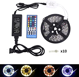 LED Strip Lights, RGBW Led Strip Waterproof 12v 16.4ft (5M) 300LEDs SMD 5050 Warm White Plus RGB Light with 40Keys Remote Controller and 5A Power Supply (RGBWW)