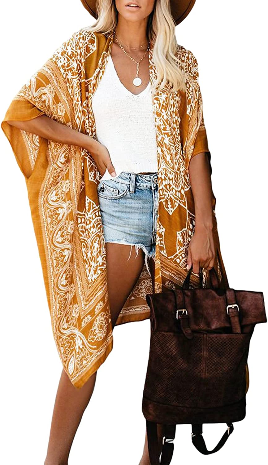 MayBuy Women's Floral Kimonos Boho Summer Cardigans Swimsuit Cover Ups for Beach Vacation